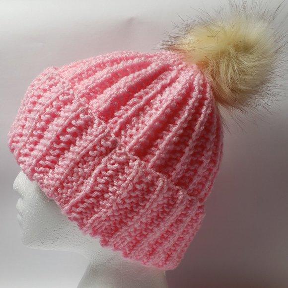 Pink Beanie Hat with Faux Fur Pom Pom